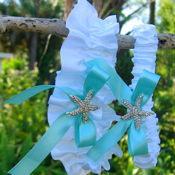 Beach Wedding Starfish Garter Set-TRUE TIFFANY BLUE-Beach Coastal Weddings, Destination Weddings, Mermaids, Bridal Garter, Wedding Garter