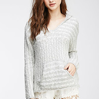 Striped Loose-Knit Hooded Pullover