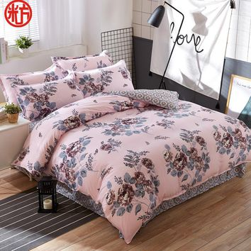 2017 home textile Summer bedding set duvet cover bed sheet coffee fllower beding bedspread Autumn housse de couette five size