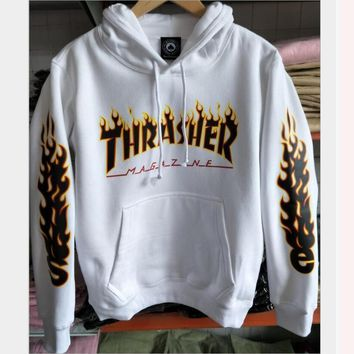 Thrasher letter flame men and women hooded sweater teen sports coat White - color