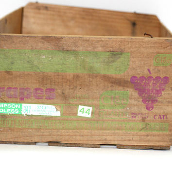 Vintage Wooden Fruit Crate | Old Grapes Crate | Rustic Storage | Organizer | Container for Plants