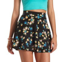Floral Print High-Waisted Skater Skirt by Charlotte Russe - Multi