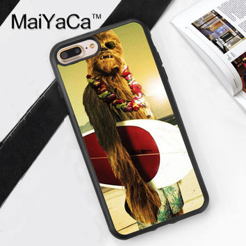 CHEWBACCA SURFER STAR WARS Printed Soft Rubber Cover for Apple iPhone 7 7Plus 6 6S Plus 5 5S 5C SE 4S Hard Plastic Phone Cases