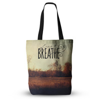 """Sylvia Cook """"Just Breathe"""" Brown Tan Everything Tote Bag"""