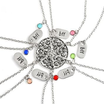 Miss Zoe 6pcs/set BFF Pizza Pendant Necklaces Friendship Necklace Best Friends Forever Colorful Rhinestone Gift For Friend