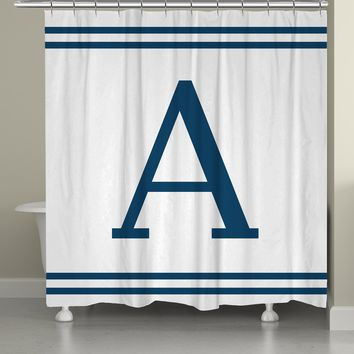 Monogram Blue Stripe Shower Curtain