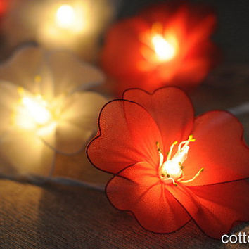 20 White orange floral  flower handmade string light indoor lantern  wedding party decoration gift