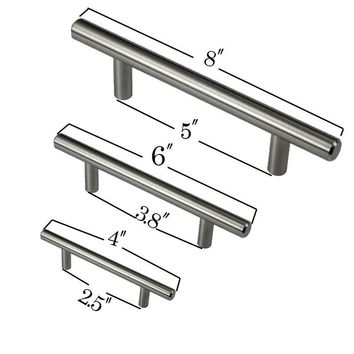 "4"" 6"" 8"" Cabinet T Bar Pull Handle Stainless Steel Furniture  Hardware Drawer Knob Kitchen Cupboard Door Handles Pull"