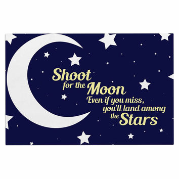 """NL Designs """"Moon And Stars Quote"""" Blue White Decorative Door Mat"""