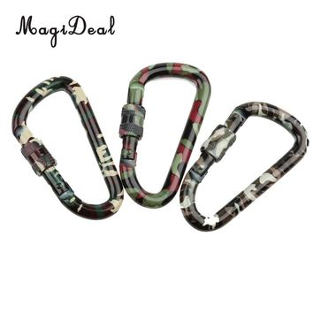 MagiDeal Outdoor Camping Hiking Screw Locking Carabiner Keychain - Camouflage for Rock Climbing Mountaineering Rappelling
