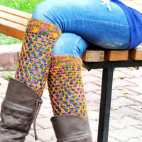 Socks Multicolor long Square Knit Boot Cuffs. Long Leg Warmers. Crochet Boot Cuffs. Aztec socks boot cuffs. Rainbow, colorfull..