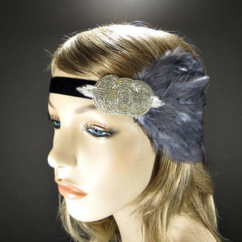 Silver Great Gatsby 1920s Flapper Headband Downtown Abbey Lady Mary Wedding Party Gray Feather with Silver Beaded Fascinator