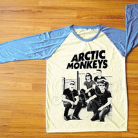 Arctic Monkeys T-Shirt Indie Rock T-Shirt Raglan Tee Blue Sleeve Shirt Women T-Shirt Men T-Shirt Unisex Tee Shirt Baseball Tee Shirt S,M,L