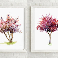Tree art - Blossom Tree Watercolor Painting - set of 2 Giclee Print -  Wall Decor  - Tree illustration - Nature Painting - Zen Painting tree