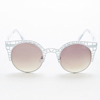 Quay Fleur Cage Sunglasses in White - Urban Outfitters