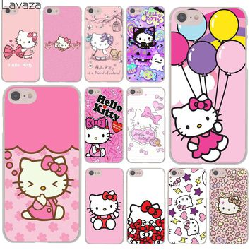Lavaza lovely cute Hello Kitty lovely pink Hard Cover Case for iPhone X XS Max XR 6 6S 7 8 Plus 5 5S SE 5C 4S 10 Phone Cases