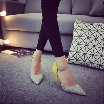 Korean Ladies Shoes And Bags To Match Set Multi Colored Pointed Toe High Heels Low Cut Uppers Party Snake Heel Side Hollow