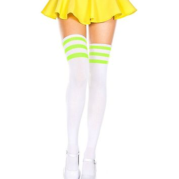 White and Neon Green 3 Stripe Thigh High Socks