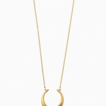 Double Horn Pendant Necklace - Gold