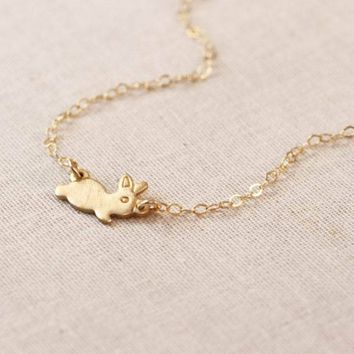 Sykesha 2018 Cute Running Bunny Pendant Necklace Pet Lovers Rabbit Animal Jewelry Women's Tiny Dainty Necklace Drop Shipping
