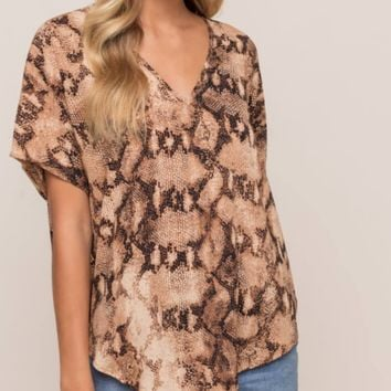 Taupe Python Short Sleeve Top