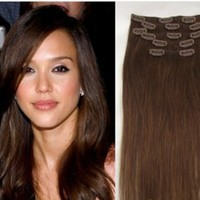 Medium brown Clip In 100% Human Hair Extensions