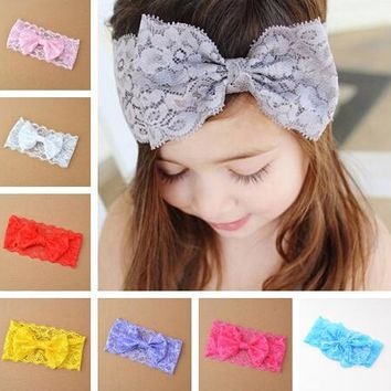 Baby lace girls hair bow knot head band headwear headwrap Floral headbands