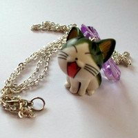 Kawaii Cat Necklace Cute Kitty Necklace by KitschBitchJewellery