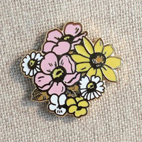 "Limited Edition! Native Wildflower Bouquet + mini zine // Cloisonne Hard Enamel Lapel Pin 1"" // Flower Enamel Pin"