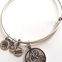 Disney World Alex and Ani Rapunzel Silver Charm Bangle Bracelet