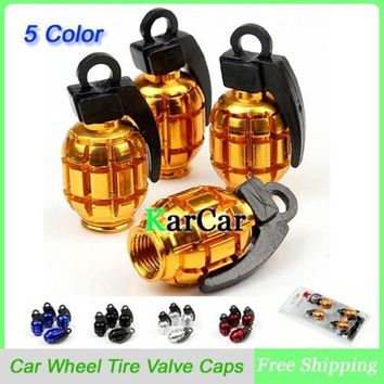 1sets Universal Aluminum Grenade Design Car Wheel Tyre Valve Caps Bicycle Tire Air Valve Cap