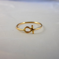 Key of Life Ankh Ring Hieroglyphics 14k Gold Filled Stacking Ring