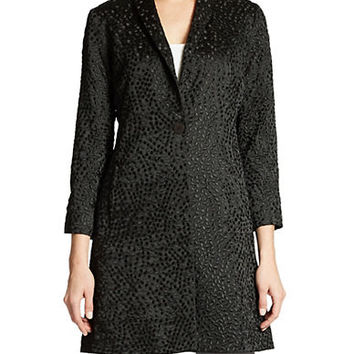 Eileen Fisher Petite Silk Embroidered Dot Coat