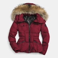 GINGHAM CHECK SHORT DOWN COAT WITH FUR TRIM