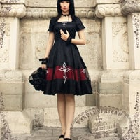 """Silent Hill"" Gothic Square Neckline Jacquard Summer Dress/OP & Hairbow*2colors"