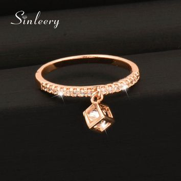 SINLEERY Charm Cubic Zirconia Crystal Inside Hollow Square Pendant Finger Rings For Women Girls Gold Color Wedding Jewelry Jz477