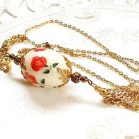 Vintage Necklace Easter Egg Jewelry Rose Decoupage Victorian Necklace Pearl Dangle