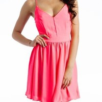 flowy open-back dress $40.30 in BLACK NEONPINK NEONYELLOW - Casual | GoJane.com