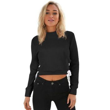 VOND4H Pullover Jumper Long Sleeve Sweatshirt Crop Top Gray Black O-Neck