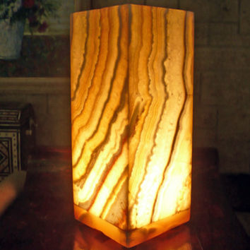 Natural Alabaster Karnak Lamp (Egypt)