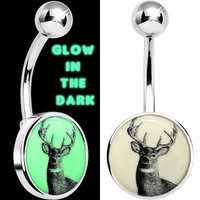 Glow in the Dark Deer Buck Belly Ring | Body Candy Body Jewelry