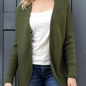 Army Green Ribbed Knit Lace Up Back Sweater Cardigan For Women
