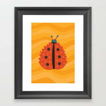Orange Ladybug Autumn Leaf Framed Art Print by borianagiormova