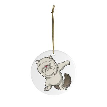 Ceramic Christmas Ornaments For Cat Mom & Dad - Dancing Persian Cat Christmas Ornament Holiday Gift For Cat Lovers