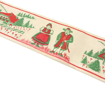 Vintage Print Fabric Ribbon Trim, Folk Art Style, Alpine, Bavarian, Scandinavian