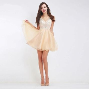 Champagne A-Line Mini Prom Dresses New Sleeveless Beading Homecoming Gowns Short Tulle Dresses for Party