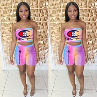 Champion Summer Fashion Woman strapless Top Shorts Two-Piece