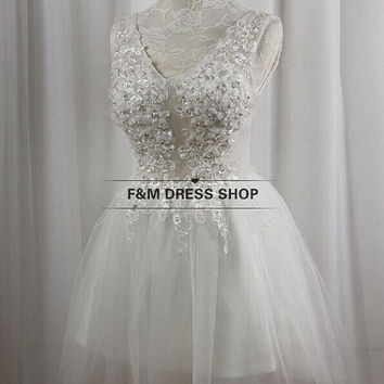 Custom make wedding dress  V-neck beading top party dress prom dress bridesmaid Dress  Cocktail Dresses