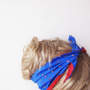Red and Blue Bow Hair Wrap, Women's Headband , Summer Beach Hairband, Spring Headband,For Women, Accessories