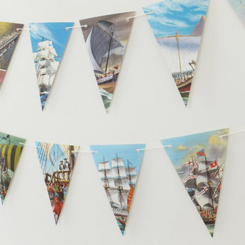Ship Bunting, upcycled from vintage Ladybird Book, Boats Garland, Liners, Banner, Pennants, Boy's Bedroom Decor